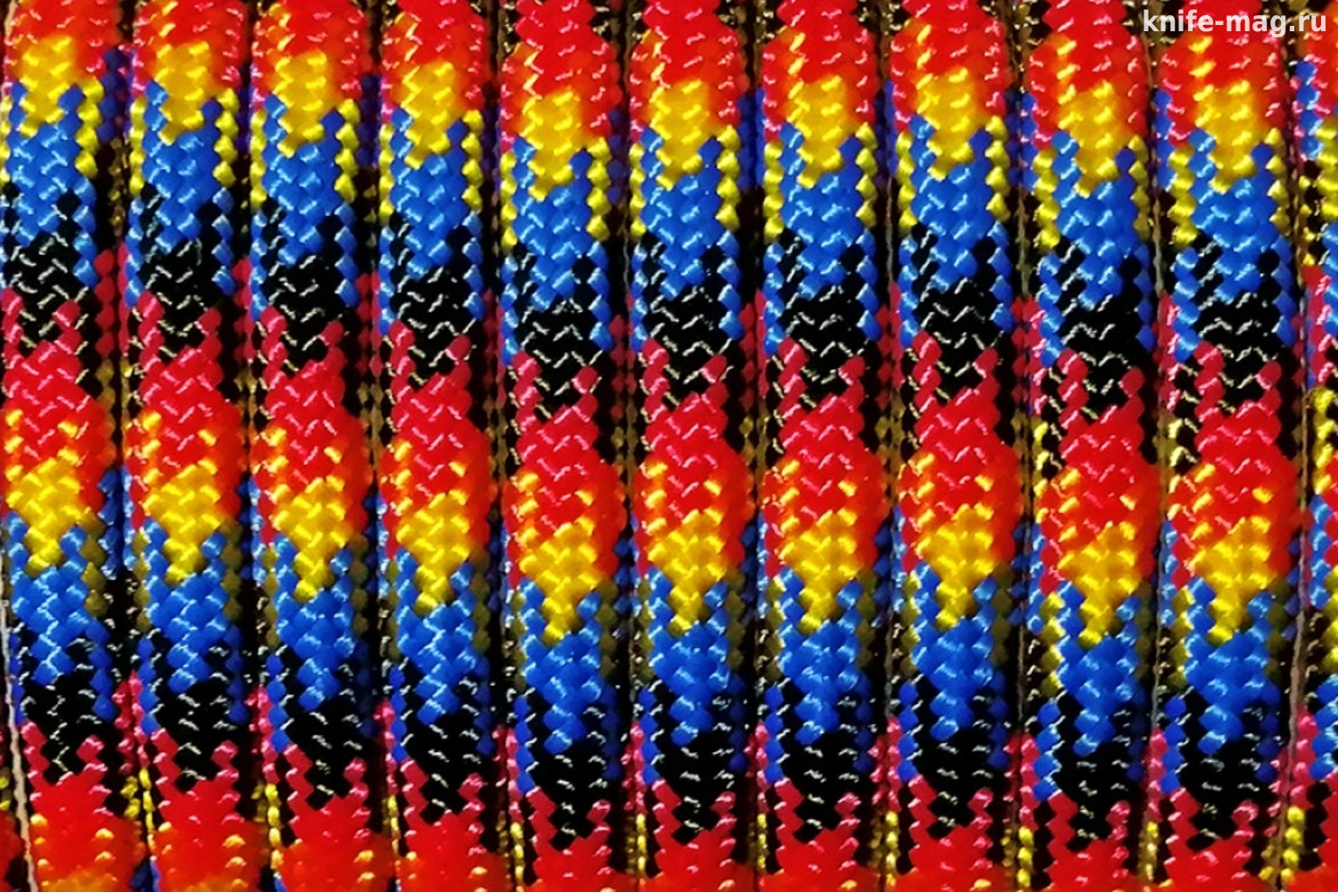 Paracord Type III 550, Flame Black&Red&Gold&Blue